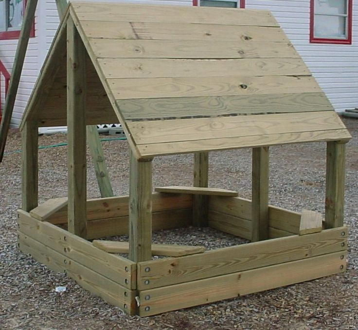 This summers project for my son! Sand box, and a roof so he stays cool.