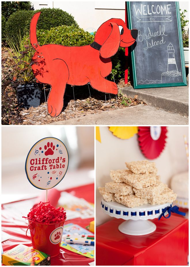 CLIFFORD THE BIG RED DOG BIRTHDAY PARTY! Bone shaped rice kriskey treats Paw pails Solo cups w paw prints and names for drinks or party favors