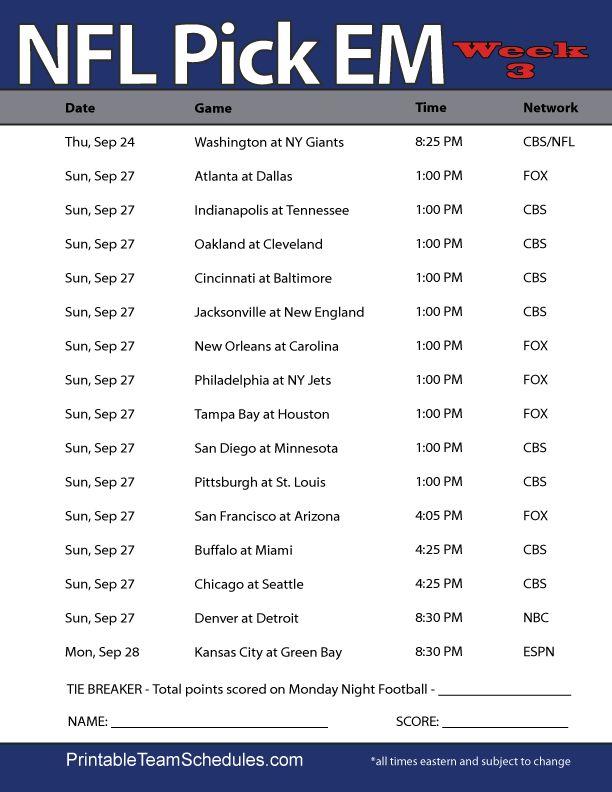 NFL Weekly Pick'EM Office Pool Sheet