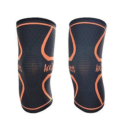 Knee Compression Sleeve Support PAIR for Jogging Sports Running Arthritis