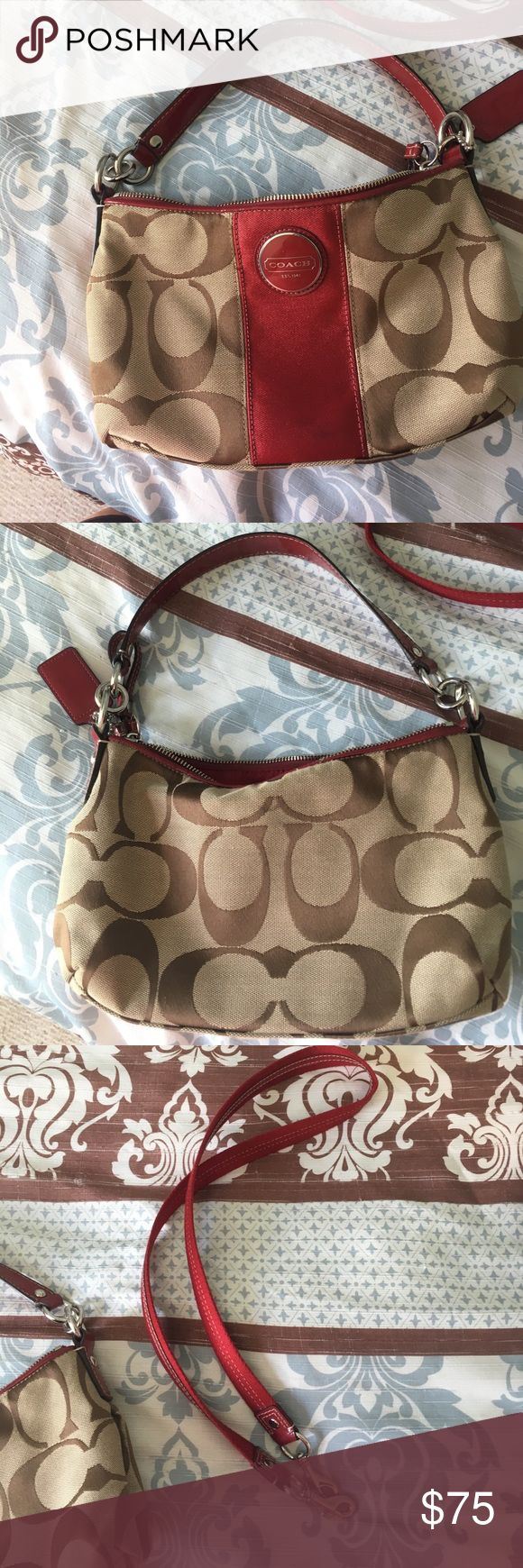 Coach pocketbook a coach bag, used two times in very good condition and comes with an attachable strap. Coach Bags Mini Bags