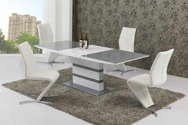 Milano Arctic Grey And White High Gloss Extending Dining Table With Amari Dining Chairs Dining Table Chairs Dining Chairs Dining Table Decor