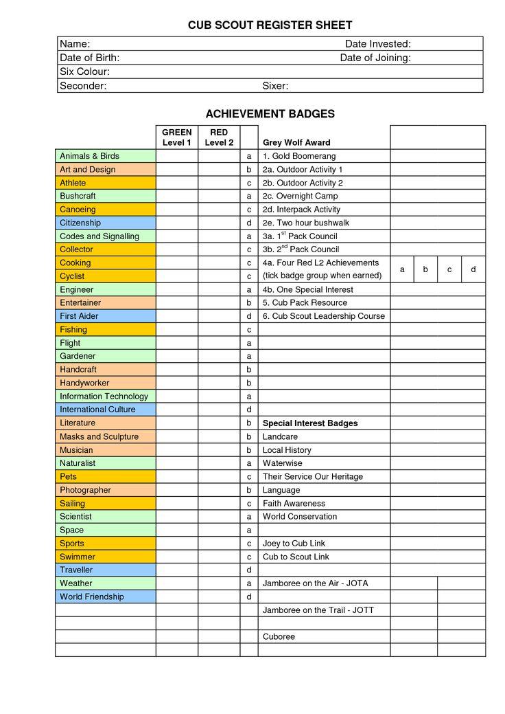 cub register sheet australia - Google Search | CUBS/SCOUTS ...