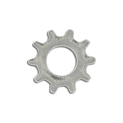 Connector, 26mm, gear, antique silver, lead free