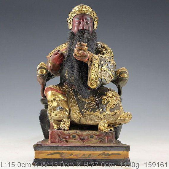 Vintage Oriental Antique Gold-Plating Camphor Wood Hand Carved Immortal Statue