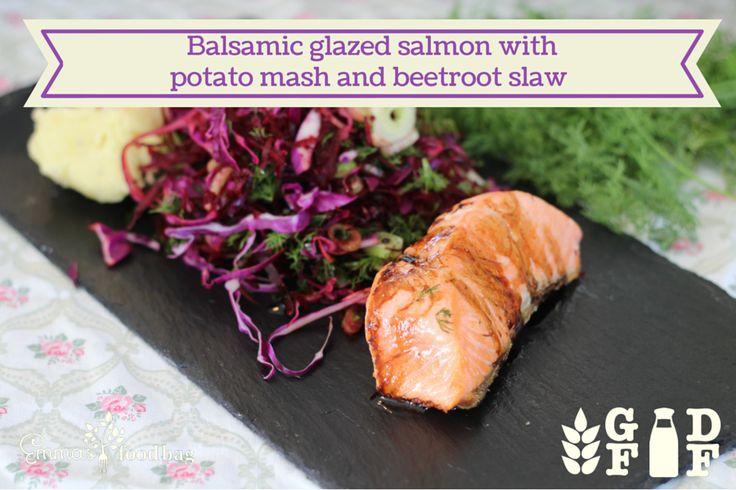 Balsamic glazed salmon with potato mash and beetroot slaw