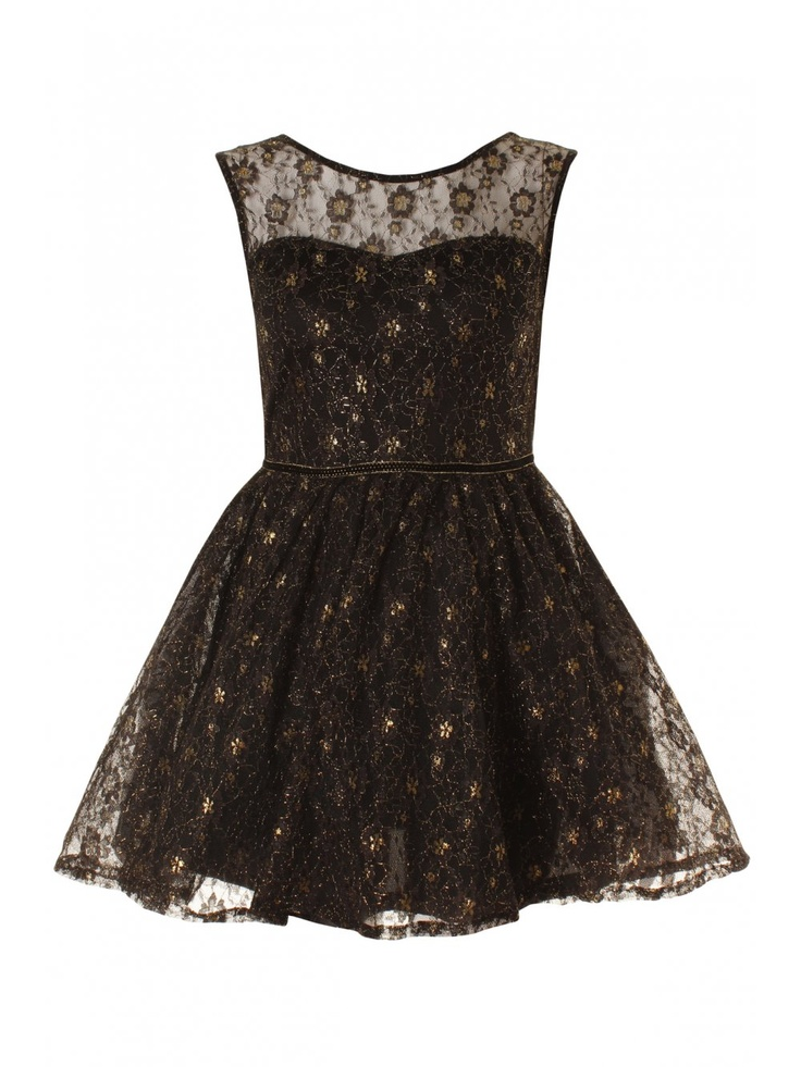 Black & Gold Lace Scoop Back Balloon Skater Dress