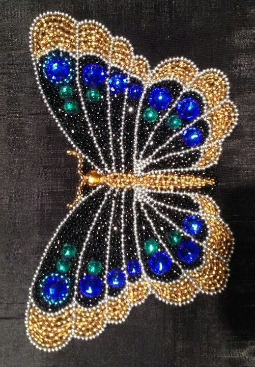 .beaded butterfly  - this could  go on my wall with the dragonflys