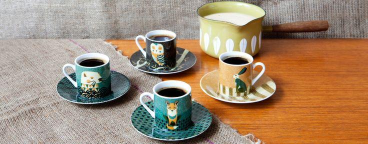 Get ready for the Wild Life. Espressokopjes van het Britse Wild Life servies.