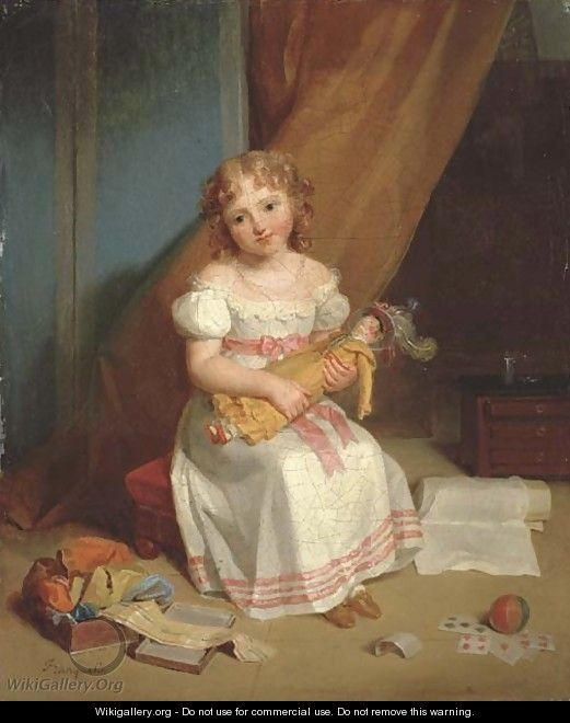 Jean Augustin Franquelin (1798 – 1839, French). portrait of a young girl holding a doll