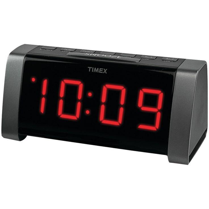 TIMEX T235B AM/FM Dual Alarm Clock Radio with Jumbo 1.8 LED Display & Auxiliary Input (Black)