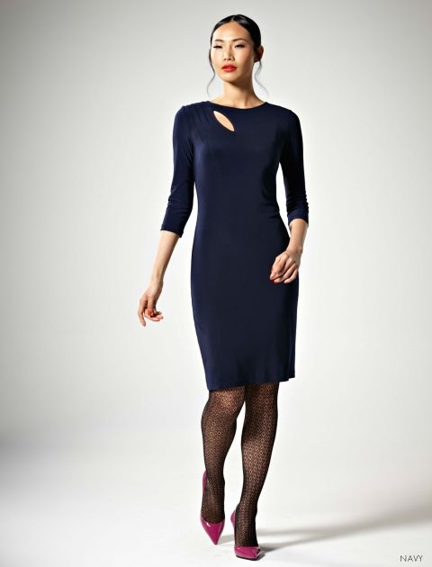 Leona Edmiston Adriana Dress in Navy. Frocks line. Got this in my usual size and it is way more body hugging than the model pic. Very va va voom.