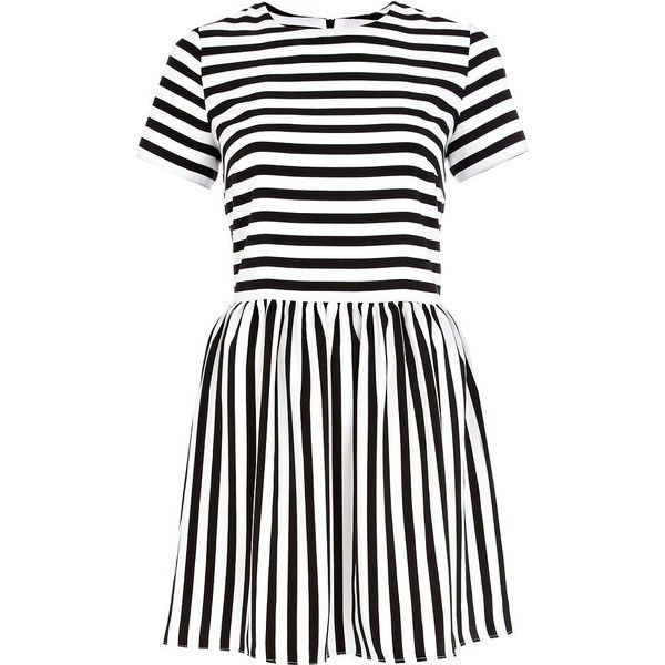 River Island Black and white stripe skater dress (365 UYU) ❤ liked on Polyvore featuring dresses, river island, sale, black white dress, white and black striped dress, black and white stripe dress, black and white dress and white and black dress