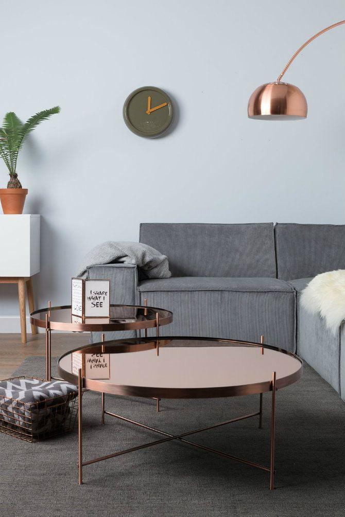 Interior design : Copper furniture & grey sofa