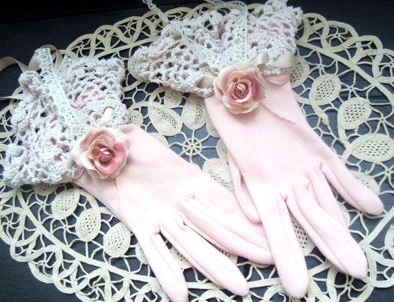 Victorian Shabby Chic Blush Pink Gloves Steam by BlackRainCouture