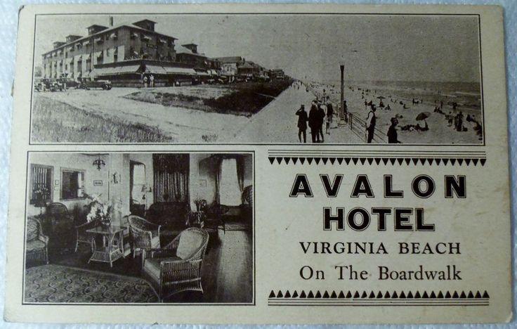 1938 Two View Postcard AVALON HOTEL ON THE BOARDWALK VIRGINIA BEACH, VA
