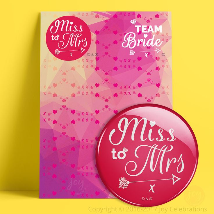 Miss To Mrs & Team Bride Hen Do Party Badges – Token Gift for Bride To Be or Multi-Packs for a party.    #MissToMrs #Hen #Bride #HenDo #HenParty #BrideToBe #Engaged #Engagement #GettingMarried #Marriage #Wedding #JoyCelebrations