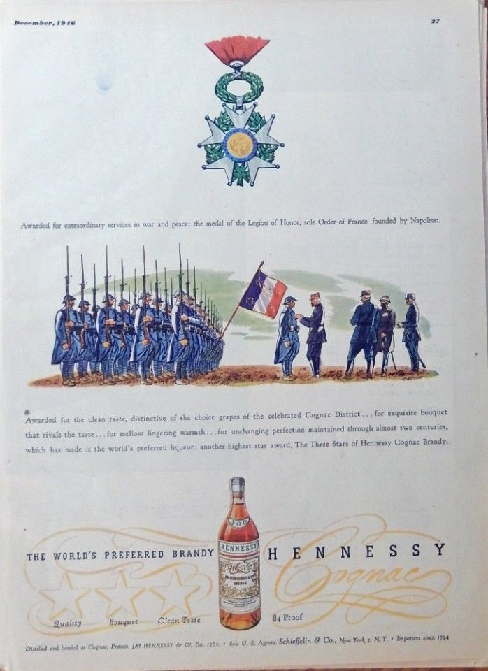 Hennessy Whiskey  40 s print ad  full page color illustration  medal of the Legion of Honor