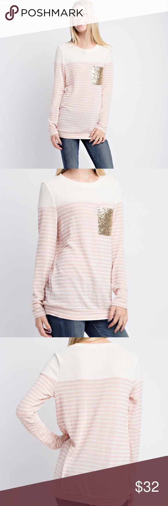 Bouvardia Long sleeve, peach striped sweater with a gold sequin breast square.  Color: Yellow undertones. See pictures.   Sizes: Small, Medium, Large   Fabric:  Condition: New with Tags    Please ask all questions before purchase. Bundle Discount: 10% on 2+ items. Typically ships within 24 hours.   Follow along on Instagram, Snapchat, Twitter & Facebook: @flowersandgray    xo, Jess   Internal Use: BVA-132227 Flowers and Gray Sweaters