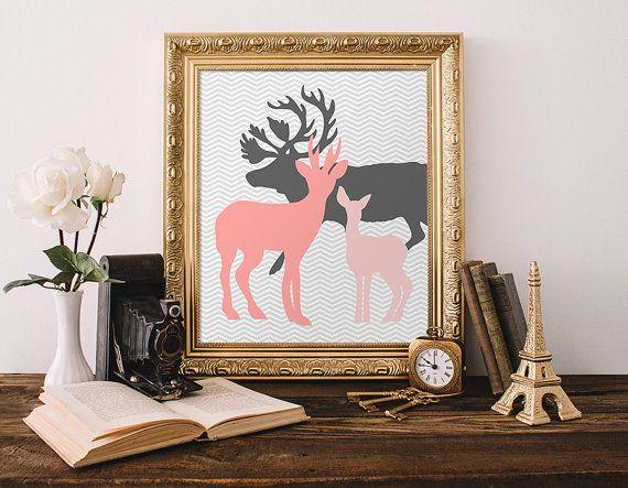 Cerf famille imprimer 8 x 10 Télécharger Instant Deer imprimable Art Stag Doe fauve pépinière Deer Wall Art Chevron mur gris Art Blush pépinière Decor