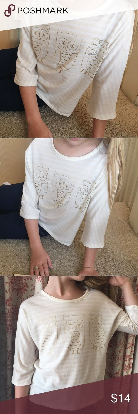 """👫 Copper Key Stripe Owl Top Barely worn Copper Key stripe owl top. Size is """"L"""" but that means it is a """"large"""" in the girls 2-6x range. The model in my photos is a size 7-8 in tops to give you an idea. Shirts & Tops"""
