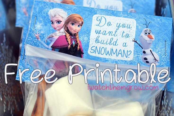 "Free Frozen party printables: build-a-snowman kit labels for favors. Feature Elsa, Anna, and Olaf and the iconic question ""Do you want to build a snowman?"""