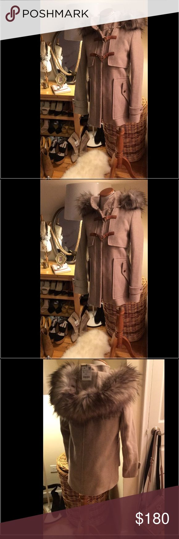 Zara Coat with Fur hood Beautiful Zara beige coat with fur Hood Small. As see on bloggers. New with Tags. Selling because don't fit me. Just can be traded for Hatchimals Owlicorn for my daughter Zara Jackets & Coats