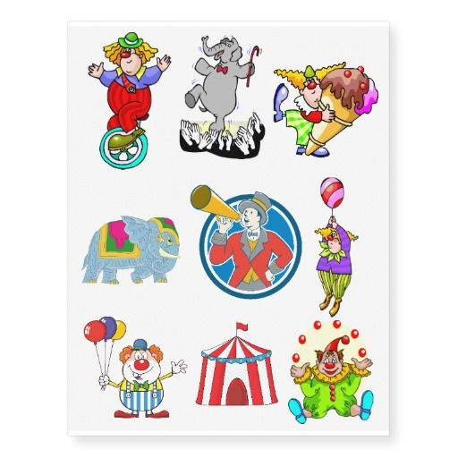 Kids Circus Party Personalized Temporary Tattoos