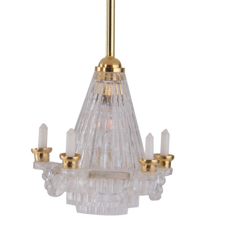 Dollhouse Miniature 12 V LED Kronleuchter Deckenbeleuchtung Lampe Elektrische W/5 Kerze für 1/12 Puppenhaus Möbel Dekoration Gold(China (Mainland))