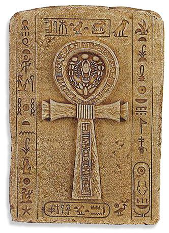 The Ankh, the Egyptian symbol of life indicating the bearer had the power to give life or take it away from lesser mortals. Only Kings, Queens, and Gods could carry this symbol.