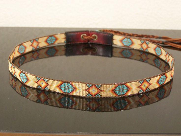 Native American Beaded Morning Star Hat Band