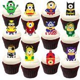 28 Stand Up Minion Superhero Themed Edible Wafer Paper Cake Toppers Decorations