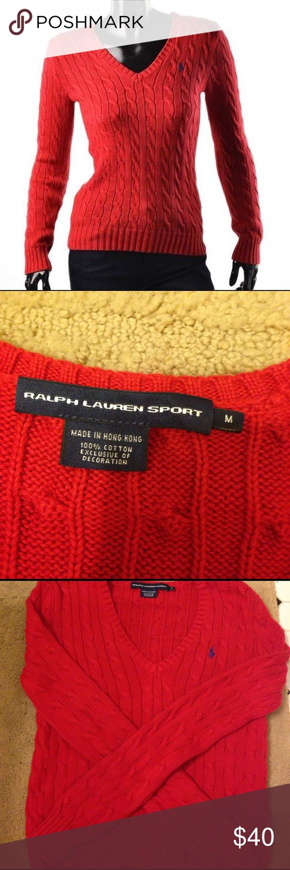 Ralph Lauren sport red chunky cable knit sweater M Beautiful Ralph Lauren Sport sweater excellent condition size medium. Only worn once. Little purple polo horse. V neck pullover style. Exactly same as first picture. Would also work for a size small. 100% cotton. Free gift; bundle for discount:) Ralph Lauren Sweaters V-Necks
