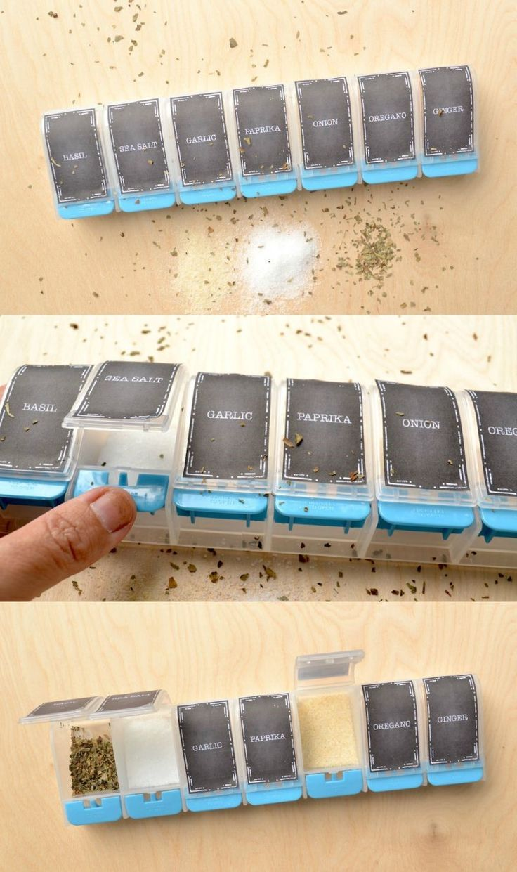 Turn a pill organizer into a spice holder for camping. So smart! Get the free printable labels here - and learn how to do it.