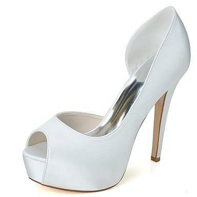 Women's Shoes Platform Peep Toe Stiletto Heel  Pumps with Rhinestone Satin Wedding Shoes – GBP £ 27.59
