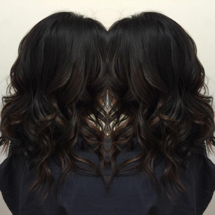 Subtle balayage ombre on dark hair