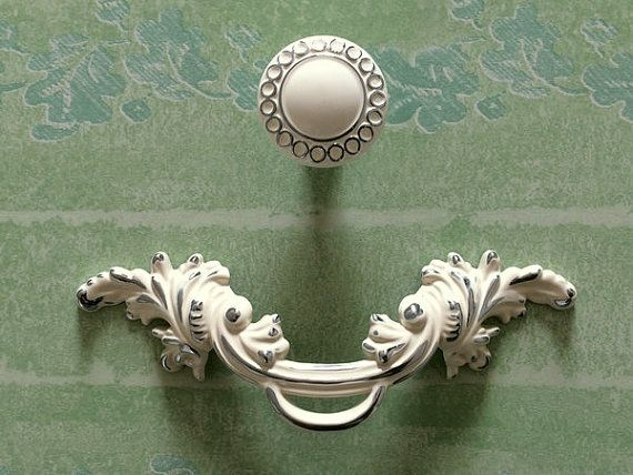 "2.5"" Shabby Chic Dresser Pull Drawer Pulls Handles White Silver Rustic Kitchen Cabinet Handle Door Knobs Pull French Country 2 1/2"" 64 mm"