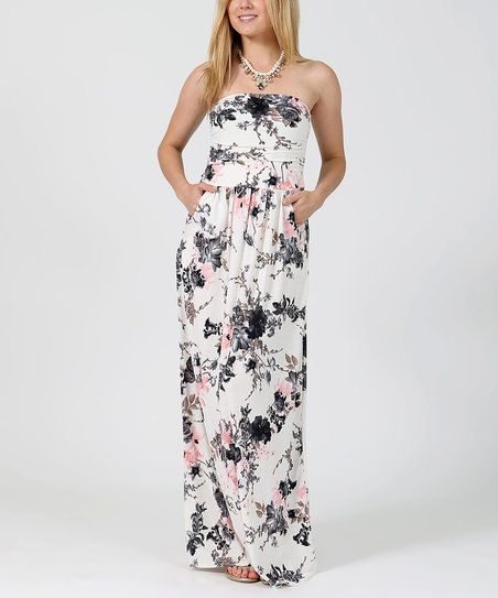 Ivory Floral Empire-Waist Strapless Maxi Dress | zulily