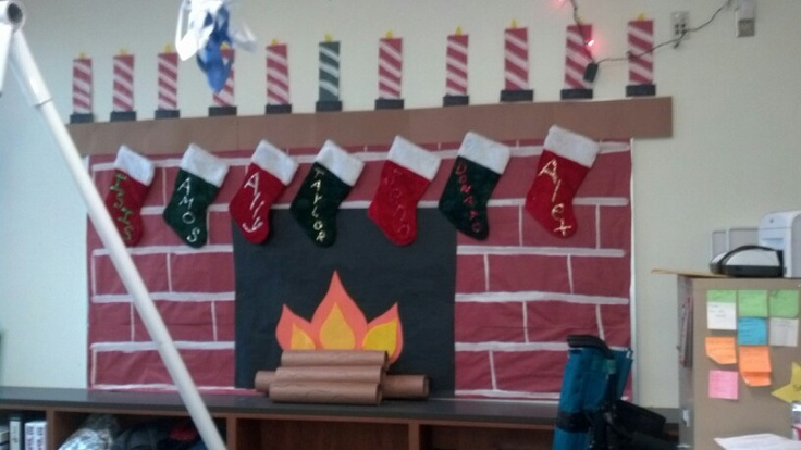 Fireplace Made Out Of Paper Christmas Bulletin Board