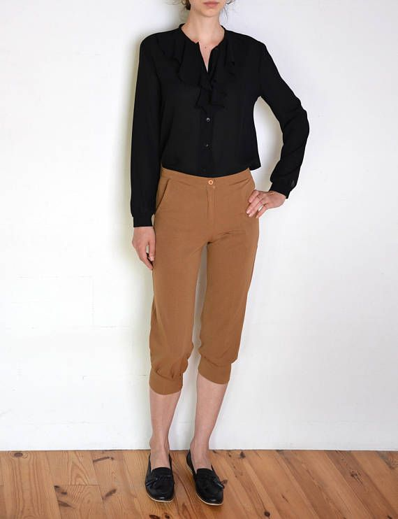 90's French breeches pants brown knee length pants