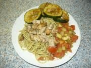 Italské těstoviny s pestem, kuřecím masem a zeleninou