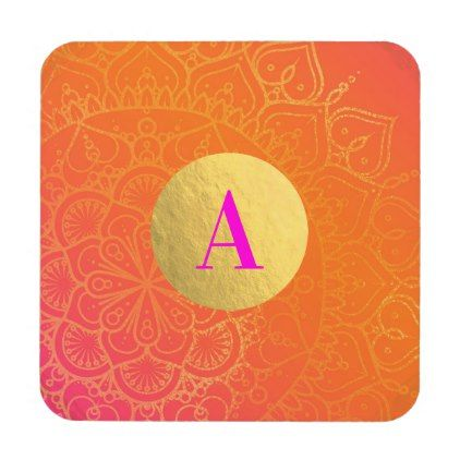Fuchsia Pink Orange & Gold Indian Mandala Glam Beverage Coaster - elegant gifts gift ideas custom presents