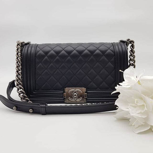 4600 Wire Preloved Chanel Boy Flap Bag Old Medium Black Calf Leather Ruthenium Hardware Serial Code Starting With 204 Full Set Flap Bag Calf Leather Bags