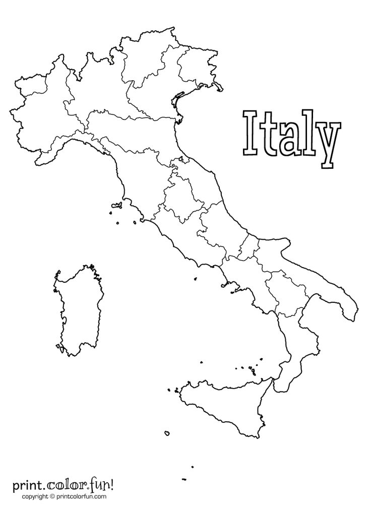 Map of Italy | Print. Color. Fun! Free printables, coloring pages, crafts, puzzles & cards to print