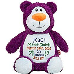 Personalized Stuffed Purple Bear with Embroidered Baby Block in Blue, Green, and Orange