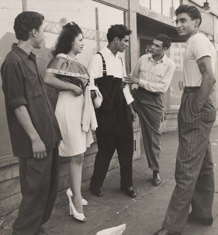 "The ""Pachuca,"" the female counterpart of the Pachuco, had as strong an aesthetic sensibility as the male zoot suiter. Description from pinterest.com. I searched for this on bing.com/images"