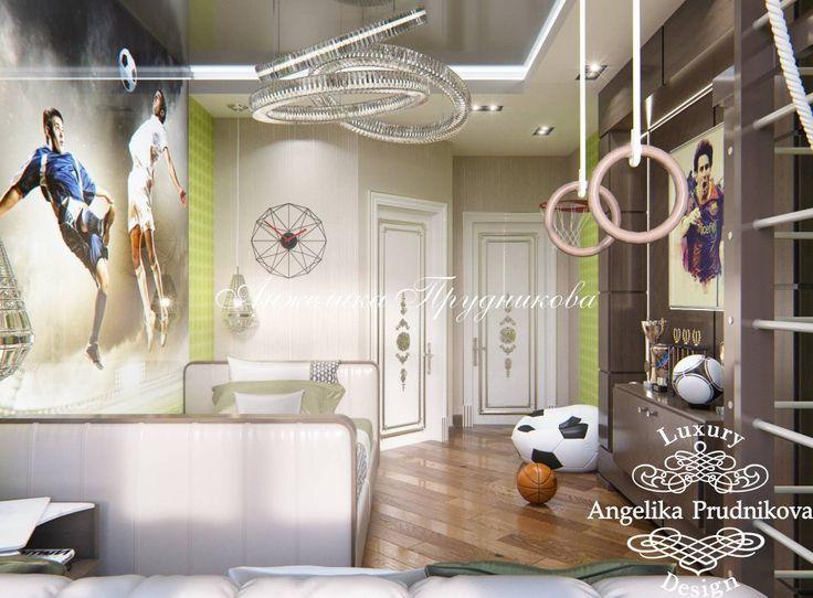 Дизайн интерьера детской комнаты на футбольную тему - фото