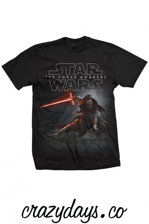 """Official Merchandise Star Wars Episode VII Kylo Ren Crouch Unisex T-Shirt.  This Star Wars Episode VII Kylo Ren Crouch Unisex T-Shirt is available in sizes Med (Medium 38"""", 97cm) Large (Large 42"""",107cm) XL(XL 46"""", 117cm) and available in a Black Luxurious SuperSoft T-Shirt.  You can find many more Star Wars related T-Shirts in Our Official Merchandise on www.crazydays.co. Free UK shipping"""