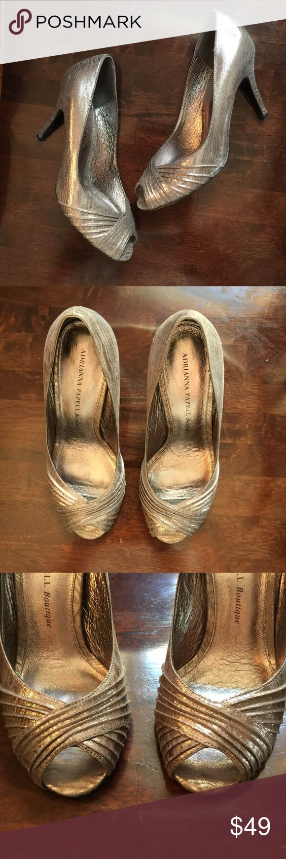 """Adrianna Papell Boutique Grand Metallic Satin Pump A perfect shoe for wedding season! Silver open toed Satin pumps that will pair perfectly with any dress. Too cute!! Leather sock, lining, and sole. 3.5"""" heel Adrianna Papell Shoes Heels"""