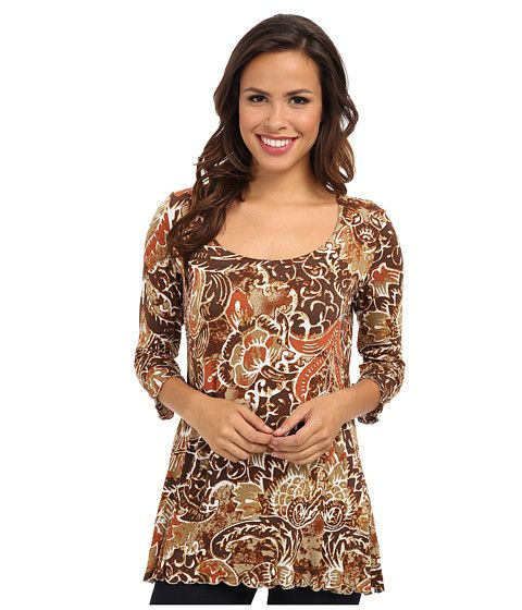 Miraclebody Jeans 3/4 Sleeve Printed Tunic Top Cognac - Zappos.com Free Shipping BOTH Ways